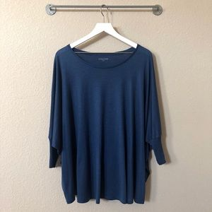 Eileen Fisher Blue Silk Blend Lightweight Shirt